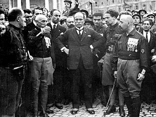 Benito Mussolini en la Marcha sobre Roma