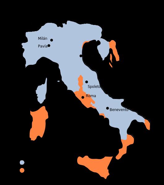 Mapa del reino lombardo después de las conquistas de Astolfo (751)