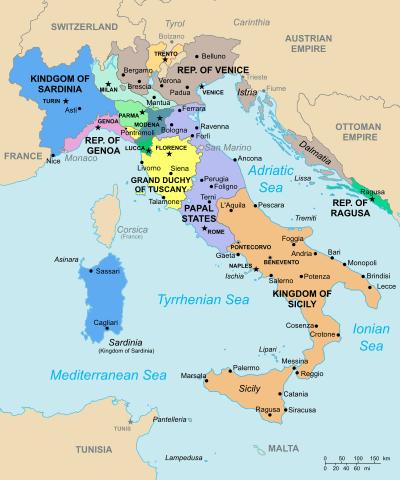 estados italianos en 1796